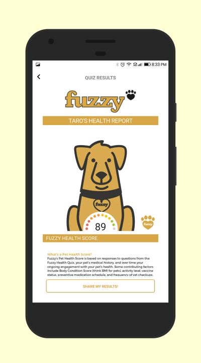 Keep track of your pet's well-being with the all new Fuzzy app for Android and iOS