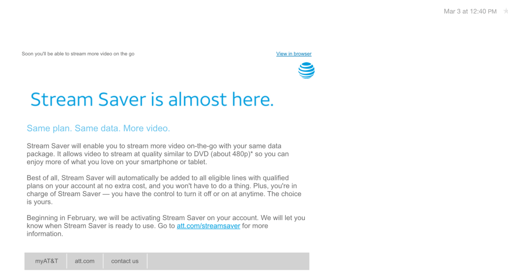 AT&T is automatically downgrading your video streaming quality to
