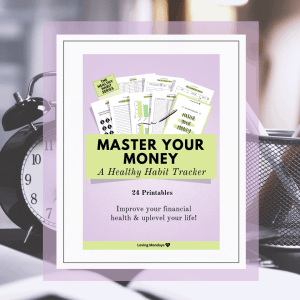 Product image of the 'Master Your Money' printable planner with purple and lime green edges. Also includes a black and white image in the background with a clock and pencil holder.