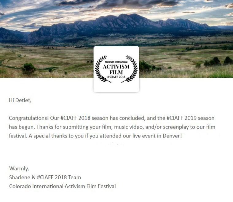 Colorado Activist Film Festival Detlef Schlich