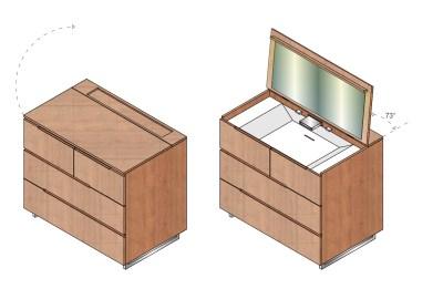 In Anlehnung an den Trend das Schlafzimmer mit dem Badezimmer zusammen zu legen, stellt dieses Möbel den Brückenschlag zwischen den beiden Bereichen dar. LAVABO ist eine für das Schlafzimmer konzipierte Massivholzkommode mit integriertem Waschtisch, welcher bei Nichtnutzung verdeckt werden kann. Dies soll mit Unterstützung der Qualitäten des Massivholzes die Wohnlichkeit des Schlafzimmers bewahren und die recht praktische Erscheinung schmälern. Unter dem aufklappbaren Deckel der Kommode verbirgt sich ein voll funktionsfähiger Waschtisch mit Zulauf, Ablauf, Armaturen, Spiegel, Licht und Ablageflächen für Utensilien wie Handtücher, Seife, Tiegel etc. Die darunter liegenden vier Schubladen bieten Stauraum für Textilien und Zubehör.