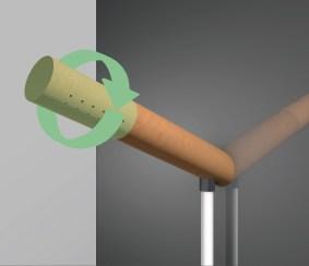 Ein Duschkopf versehen mit einem haftstarken Neodym-Mag- neten lässt die allbekannte Duschstange über üssig werden. Auf einer Metallplatte ist die Position frei wählbar und erlaubt dem Benutzer den Duschkopf auf die richtige Höhe zu setzen oder auch als Handbrause zu nutzen. Das vordere Ende ist durch eine Drehbewegung verstellbar und wandelt den Dusch- kopf leicht zu einer Waschtischarmatur um. Zusammen mit einem klappbaren Waschbecken entsteht eine Kombination aus Duschkabine und Handwaschbecken. Klappbare und aus- ziehbare Fächer in der Wand bieten jeglichem P egemittel eine geeignete Aufbewahrung. Platzsparend und simpel.