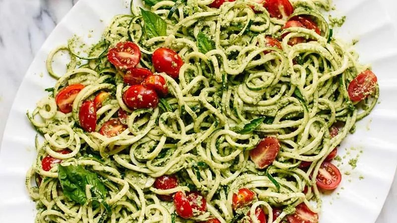 Vegan Zucchini Noodle Recipe with a Twist - raw Vegan noodles on a plate