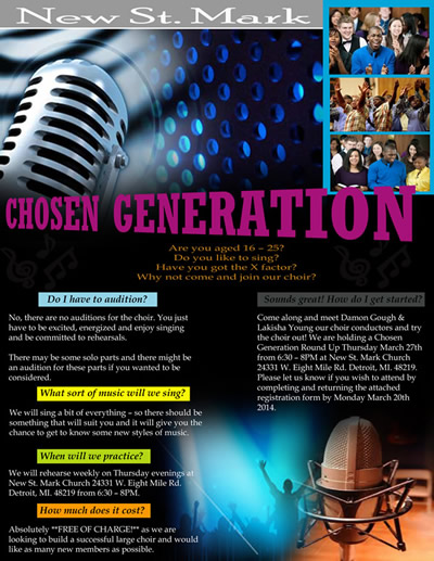 ALL SINGERS...REGISTER BY 3/24 for New Choir Chosen Generation
