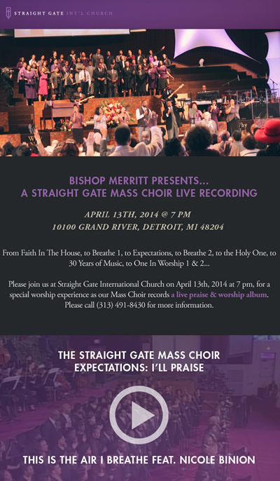 APR 13: Straight Gate Mass Choir LIVE RECORDING