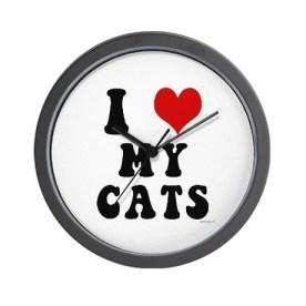 i_love_heart_my_cats_wall_clock
