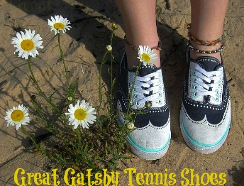 DIY Great Gatsby Inspired Hand-Painted Tennis Shoes – Tutorial