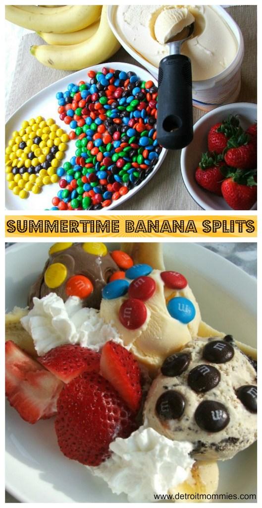 #ShareFunshine Summertime Banana Splits with M&M's