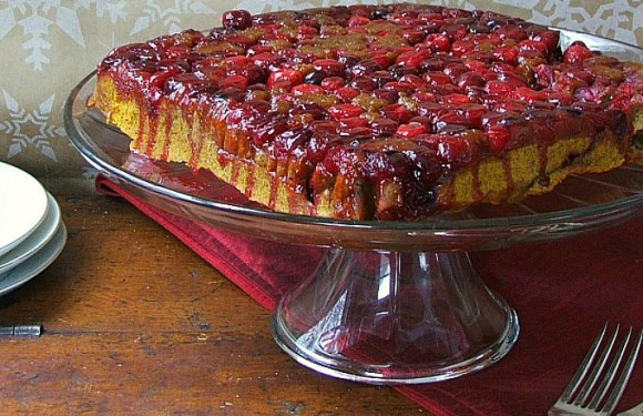 Pumpkin Cranberry Upside-Down Cake