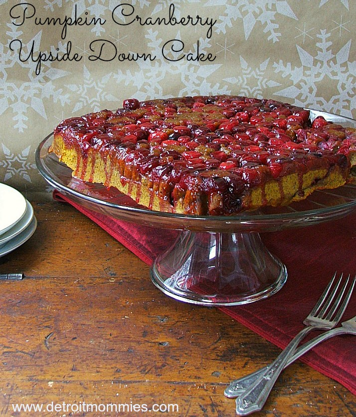 Delicious Pumpkin and Cranberry Upside Down Cake with #SplendaHoliday
