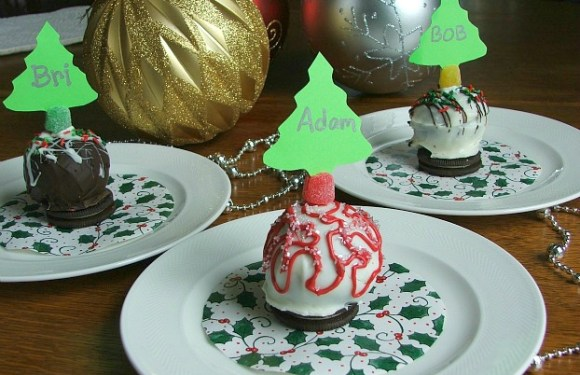 OREO Cookie Balls as Ornament Place Cards