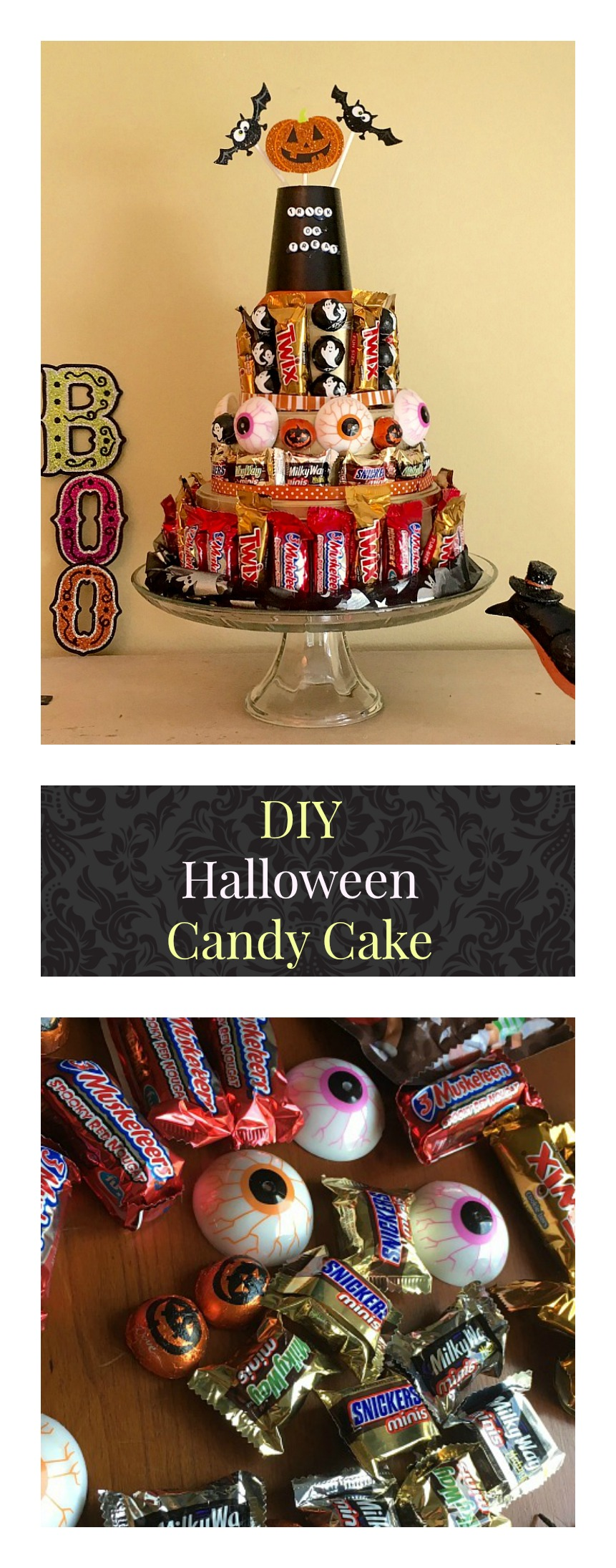 DIY Halloween Candy Bar Cake