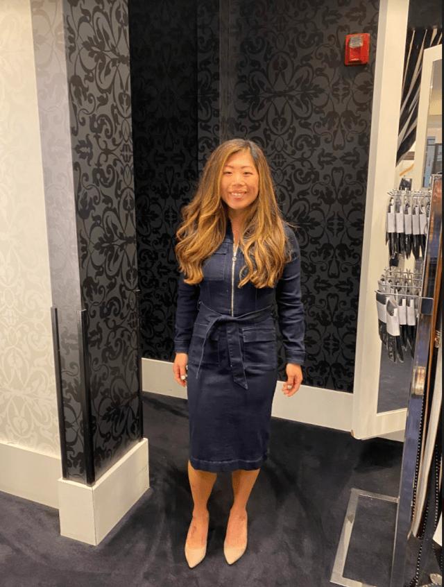 Long sleeve denim dress styled by Detroit Fashion News stylist Raffaella Moda.