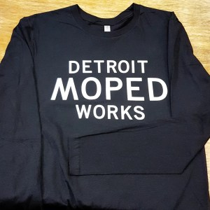 Long Sleeve Black and White Detroit Moped Works Shirt