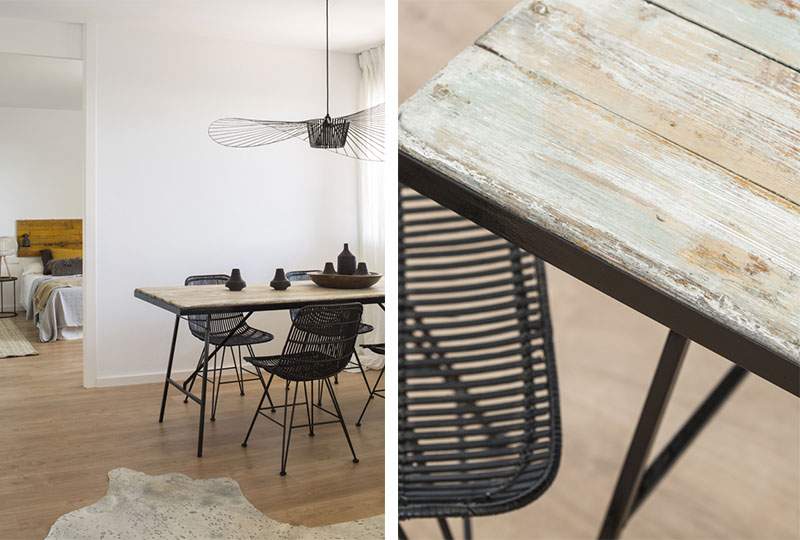 tavolo pranzo ferro e legno riciclato