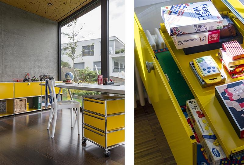 angolo studio in cameretta arredato con sistema USM HAller di colore giallo