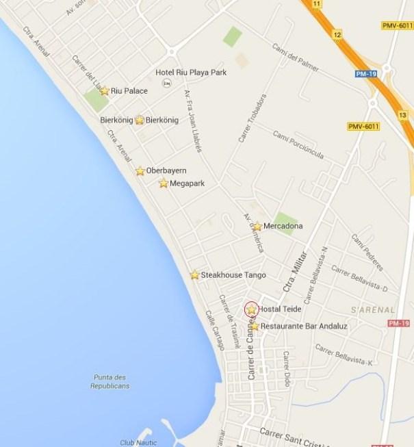 Karte von der Playa de Palma