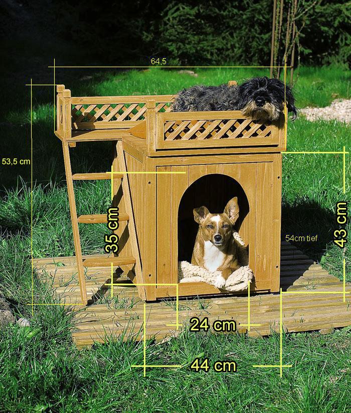 niche villa en bois avec terrasse brun 66x53x64cm