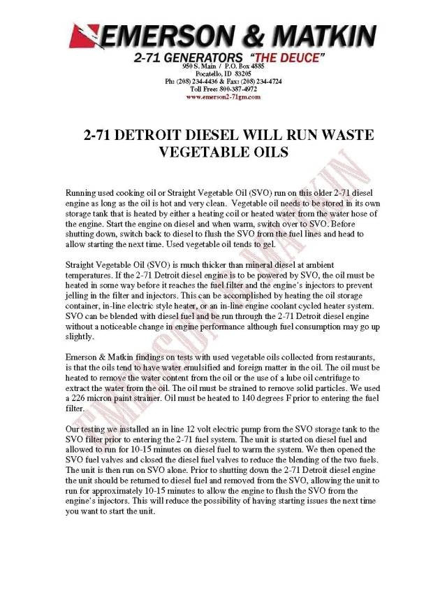 2-71 Bio Diesel Info