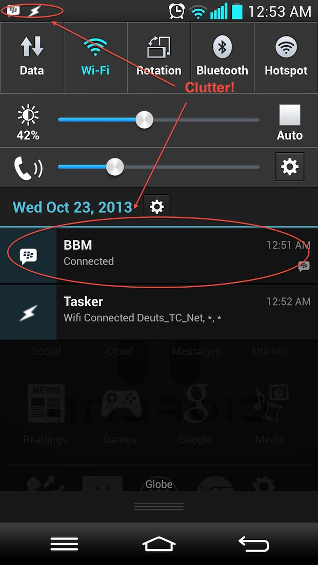 That BBM app is just a clutter in the notification drawer