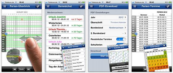Ferien-Kalender für iPhone und iPad Screenshots