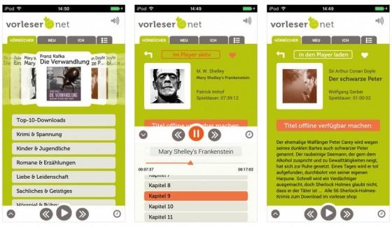 Mit der App Vorleser.net stehen Dir viele Hörspiele und Hörbücher kostenlos zum Anhören zur Verfügung. Mit der recht günstigen Pro-Version kann man die Bücher und Hörspiele auch runterladen und offline hören.