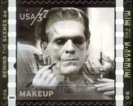 "Boris Karloff auf Briefmarke zum Thema ""American Filmmaking: Behind the Scenes"""