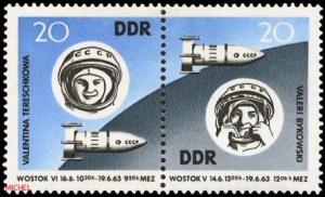 Wostock-5 und -6 näherten sich auf etwa fünf Kilometer in der Erdumlaufbahn, MiNr. 970-971.