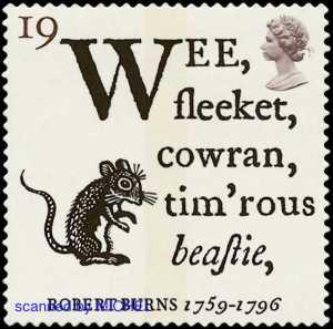"""Robert Burns' Gedichte waren Thema einer Ausgabe zum 200. Todestag. Abgebildet ist die Marke zum Gedicht """"An eine Maus"""", MiNr. 1601."""