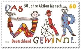 50 Jahre Aktion Mensch auf Briefmarke von 2014