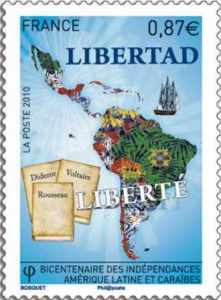 Briefmarke mit Voltaire, Diderot und Rousseau.