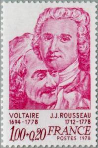 Voltaire und Rousseau auf einer Briefmarke