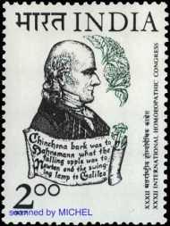 Samuel Hahnemann auf Briefmarke aus Indien