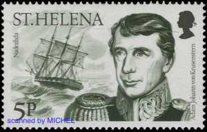 Adam Johann von Krusenstern auf Briefmarke von St. Helena