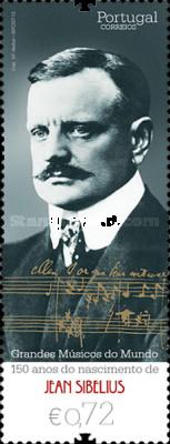 Jean Sibelius auf Briefmarke aus Portugal