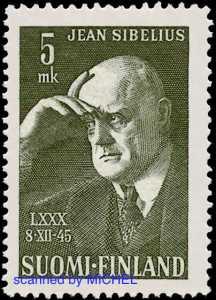 Jean Sibelius auf Briefmarke