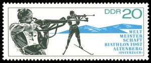 Biathlon Briefmarke DDR 1967