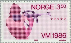 Norwegen Biathlon Briefmarke
