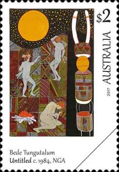 art-of-the-north-bede-tungutalum 1984 Australien Briefmarke Down Under stamp Kultur Kunst