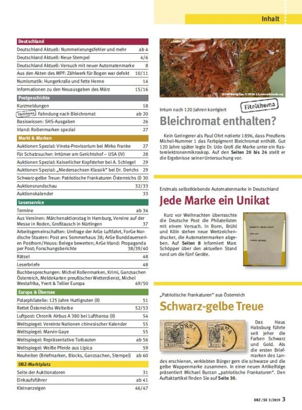 DBZ_03-19_Inhalt Fahndung Deutsche Briefmarken Zeitung Chemie