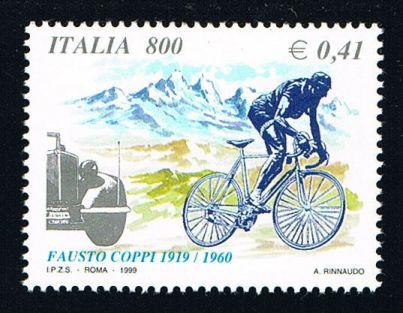 Sonderbriefmarke aus  Italien vom Radsportler Fausto Coppi