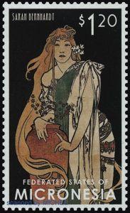 Briefmarke Mikronesien Sarah Bernhardt
