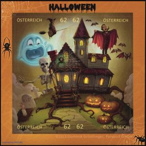 Briefmarke Österreich Halloween