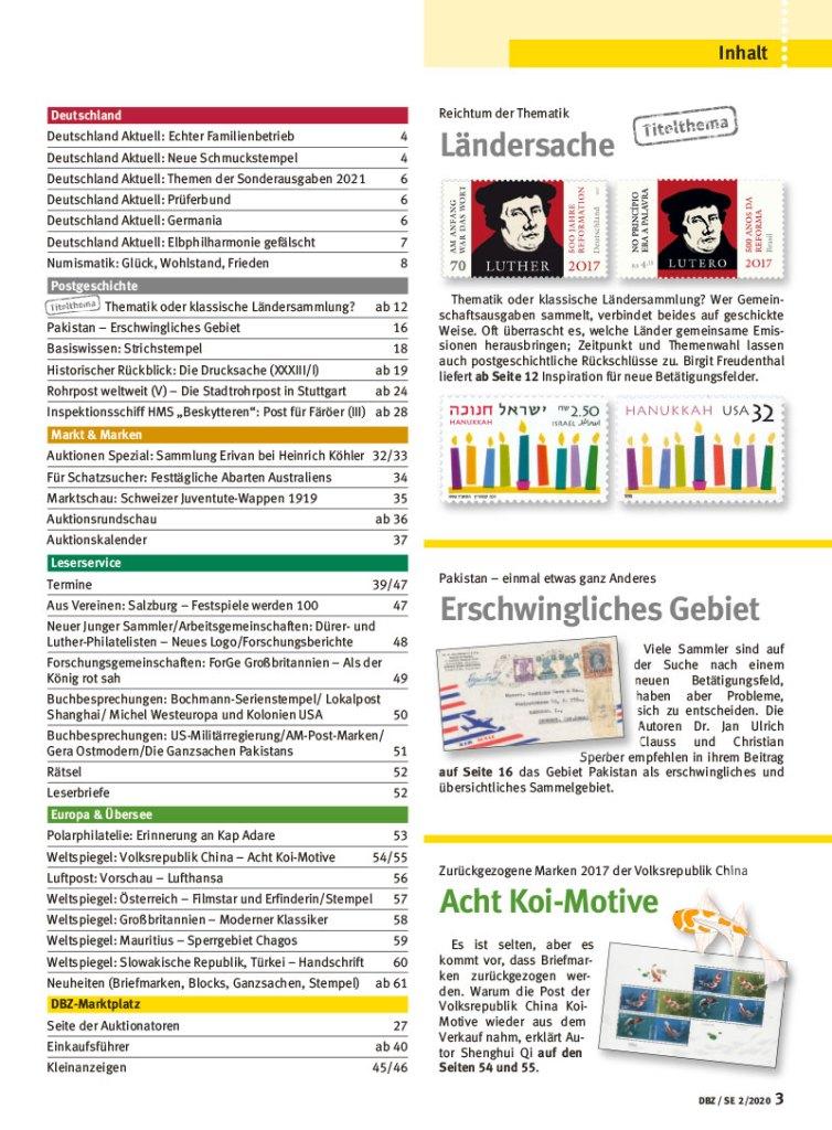 Deutsche Briefmarken Zeitung 2 2020 Voegel Thematik Gemeinschaftsausgabe Briefmarke Inhalt