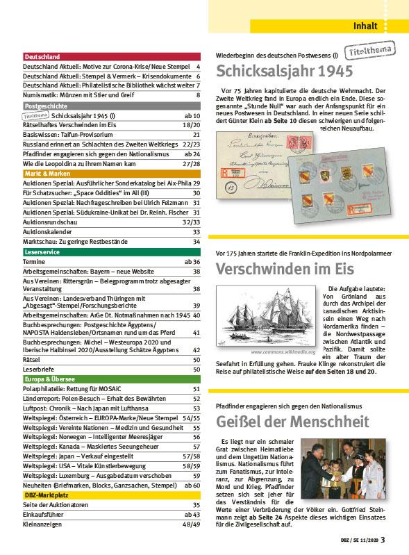 Deutsche_Briefmarken_Zeitung_11-2020_Zweiter_Weltkrieg_1945_Nationalismus_Pfadfinder_Pol_Inhalt