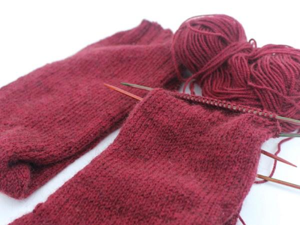 Knitting Socks Bourgogne