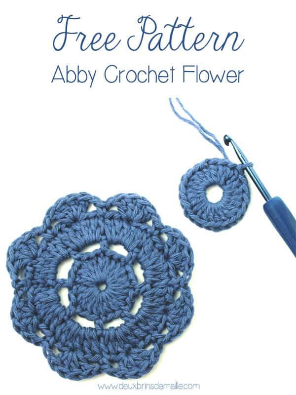Abby Crochet Flower Motif | Free Pattern on deuxbrinsdemaille.com