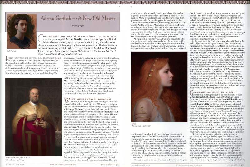 """Adrian Gottlieb ­ A New Old Master"" by Molly Siple, California Art Club Newsletter, Fall/Winter 2014-15"