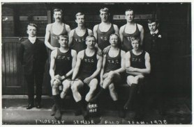 Back row: ?, ?, ?, JR Blears, Alf Tyldesley, ?; back row: ?, Frank Isherwood, Addin Tyldesley, ? (Wigan Archives Service, WLCT)