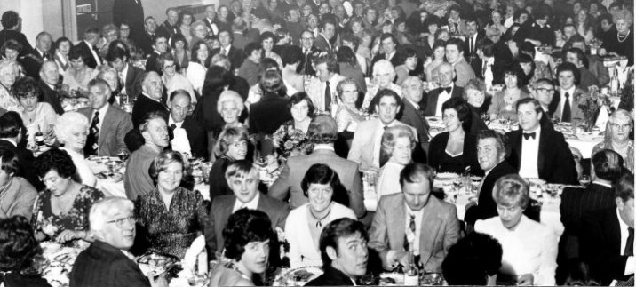 For its Centenary Tyldesley Swimming Club organised along with other celebrations, a Centenary Dinner to be held at the Formby Hall, Atherton on the 30th October, 1976. However, due to a fire at Formby Hall the dinner took place at Aspull Civic Hall. Some of the guests travelled up to 200 miles to attend.